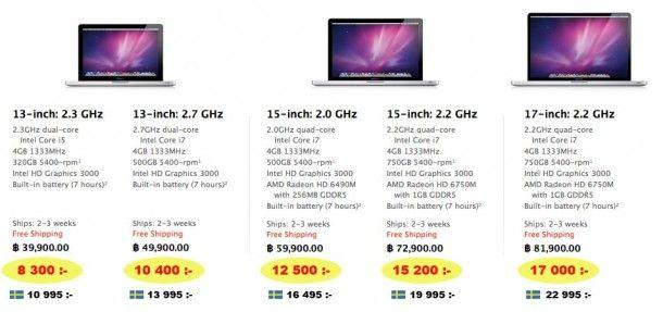 Apple priser macbook pro thailand