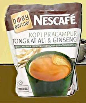 Nestlés Nescafe snabkaffe med Tongkat Ali i Malaysia.